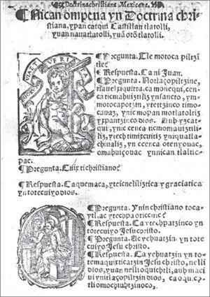 Texto en náhuatl de la Doctrina cristiana en castellano, mexicano y otomí, p. 2v.