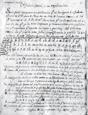 Folio I del Alfabeto otomí y su explicación, Anastasio Tazió, 1804. Acervo: Biblioteca del inah