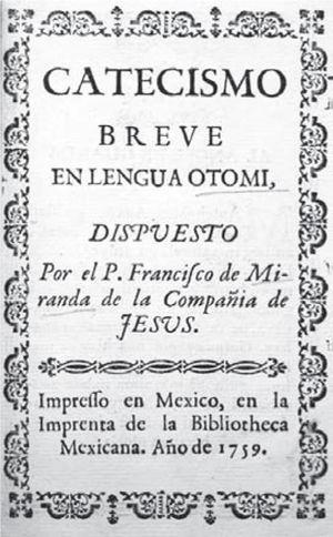 Portada del Catecismo del padre Miranda (México, Biblioteca Mexicana, 1759). Acervo: Biblioteca Cervantina, tec