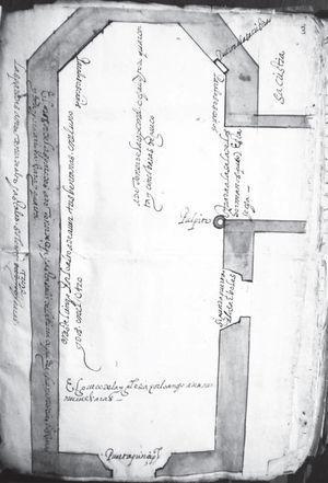 Proyecto de planta para la iglesia de la Santa Veracruz. Archivo General de la Nación, México, Indiferente virreinal, Cofradías y archicofradías, caja 4677, exp. 4.
