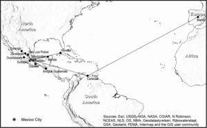 Eguiara's correspondence network described in Castro Morales (1961).