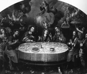Banquete de Jesús con sus padres y abuelos. Luis Berrueco. Catedral de San José de Tula, Hidalgo. Tomado de: Varios autores. Parábola novohispana. Cristo en el arte virreinal. México: Banamex, 2000, p. 58.