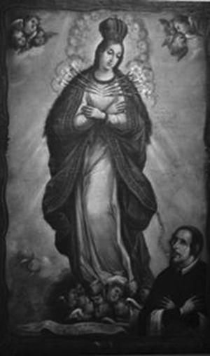 La Virgen de los Gozos con Ignacio Asenjo como donante. Pascual Pérez. Museo del exconvento de Santa Mónica. Puebla. Foto cortesía del mismo museo.