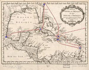 Viajes de Luisa de Dufresi desde su salida de París hasta su llegada a Veracruz (1775-1785). Carte de Golphe du Mexique et des Isles de l'Amerique - Pour servir a l'Histoire Generale des Voyages. Paris (1754) [consultado 15 May 2015]. Disponible en: http://www.loc.gov/item/74690808/.
