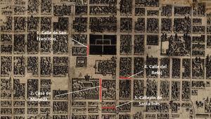 Movilidad de Luisa de Dufresi en la Ciudad de México (1785-1789). Villaseñor y Sánchez, José Antonio. Mapa plano de la muy noble, leal e imperial ciudad de México, 1753 (Biblioteca Digital Mexicana(Disponible en: http://bdmx.mx/detalle_documento/?id_cod=50#.VCGbY5SSxtw.