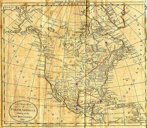 Posible traslado de Luisa de Dufresi después de su salida de la Inquisición (1789) [consultado 13 May 2015]. Disponible en: http://www.earlyamerica.com/earlyamerica/maps/northamerica/enlargement.html.