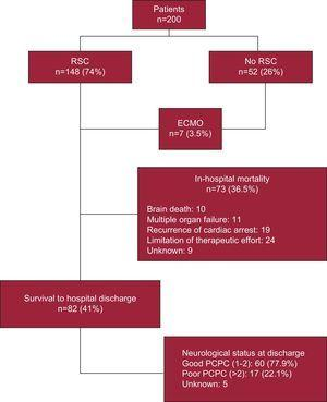 Course of in-hospital cardiac arrest (algorithm following the Utstein style). ECMO, extracorporeal membrane oxygenation; PCPC, pediatric cerebral performance category; RSC, return of spontaneous circulation.