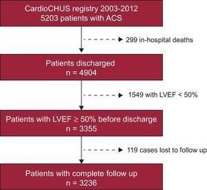 Flow chart of patients enrolled in the study. LVEF, left ventricular ejection fraction; ACS, acute coronary syndrome.