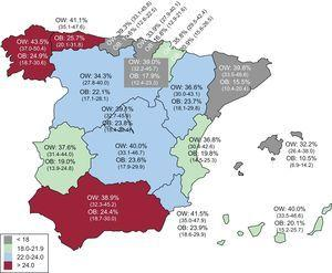 Map of obesity prevalence in the adult population (aged 25-64 years) in Spain. Age-adjusted rates. 95% confidence interval between parentheses. OB, obesity; OW, overweight.