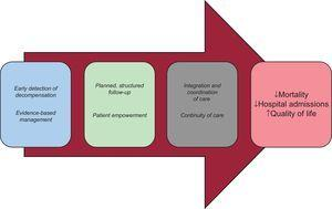 Key elements of heart failure programs inspired by the chronic care model.