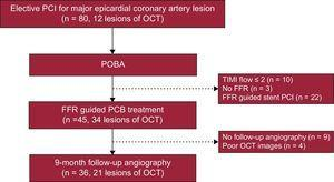 Flow chart of PCB application. Operators decided PCB or stent implantation based on FFR measurement after POBA. Of 45 PCB treated lesions, 21 were included in this OCT sub-study. FFR, fractional flow reserve; OCT, optical computed tomography; PCB, paclitaxel-coated balloon; PCI, percutaneous coronary intervention; POBA, plain old balloon angioplasty; TIMI, Thrombolysis In Myocardial Infarction.
