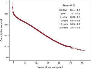 Overall survival curve for the whole series (1984-2015).