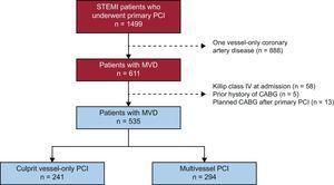 Study flow chart. CABG, coronary artery bypass grafting; MVD, multivessel disease; PCI, percutaneous coronary intervention; STEMI, ST-segment elevation acute myocardial infarction.