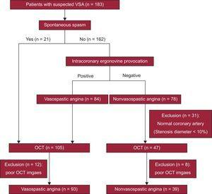 Study flowchart showing prospective patient enrolment by OCT of patients presenting with suspected VSA. OCT, optical coherence tomography; VSA, vasospastic angina.
