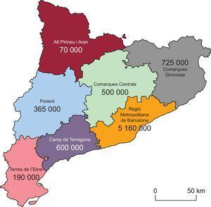 Map of the territorial health care grouping in Catalonia and the catchment population in each area.