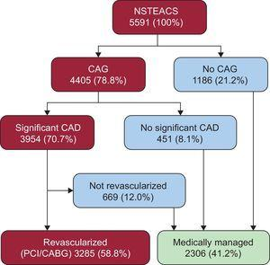 Distribution of EPICOR NSTEACS patients according to initial revascularization strategy and clinical pathways leading to medical management. CABG, coronary artery bypass graft; CAD, coronary artery disease; CAG, coronary angiography; NSTEACS, non—ST-segment elevation acute coronary syndrome; PCI, percutaneous coronary intervention.