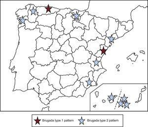 Geographic distribution of the Brugada-type the electrocardiographic patterns found.