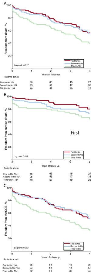 Long-term outcomes according to SYNTAX score II percutaneous coronary intervention. MACE, major adverse cardiovascular events.