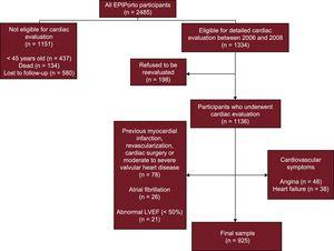 Flowchart of EPIPorto cohort study participants who were included in this study. LVEF, left ventricular ejection fraction.