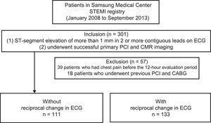 The flowchart of the study population. CABG, coronary artery bypass graft; CMR, cardiac magnetic resonance imaging; ECG, electrocardiogram; STEMI, ST-segment elevation myocardial infarction; PCI, percutaneous coronary intervention.