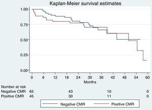 Kaplan-Meier survival curves of elderly patients according to the result of the stress CMR. The result was classified as positive or negative for ischemia if reversible perfusion defects (hypoperfusion) were detected. CMR, cardiac magnetic resonance.