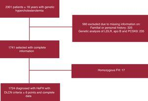 Study flowchart of the patients finally included in the analysis. apo, apolipoprotein; DLCN, Dutch Lipid Clinic Network; FH, familial hypercholesterolemia; HeFH, heterozygous familial hypercholesterolemia; LDLR, low-density lipoprotein receptor; PCSK9, proprotein convertase subtilisin/kexin type-9.