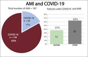 Distribution of patients based on their initial diagnoses. AMI, acute myocardial infarction; COVID-19, coronavirus disease 2019; NSTEMI, non-ST-segment elevation myocardial infarction; STEMI, ST-segment elevation myocardial infarction.