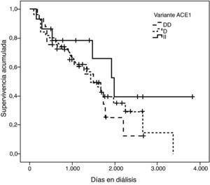 Curva de supervivencia de la variante I/D del gen ACE1 (p=0,198).