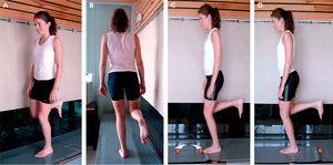 Pruebas de equilibrio unipodal. A y B) Test unipodal de ojos abiertos/ojos cerrados (10 s). Test de salto unipodal (3 s): C) inicio del salto&#59; D) recepción del salto.