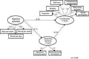 Structural model (M3) of the effect of vigorous physical activities practice on the functionally mediated by sedentary behavior.