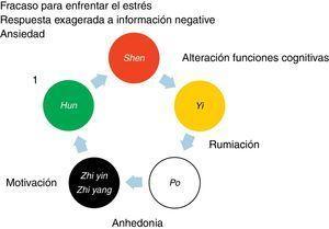 Se muestra el orden de punción de las bandas que corresponden a las actividades espirituales iniciando en Madera (círculo verde), que corresponde con actividad espiritual 魂 (Hun); continuando con Fuego (círculo rojo), que corresponde a Shen; posteriormente Tierra (círculo amarillo), que corresponde a 意 (Yi); a continuación Metal (círculo blanco), que corresponde a 魄 (Po), y finalmente Agua (círculo negro), que corresponde a 志阴 (Zhi Yin) y 阳 (Zhi Yang). Así también se ubican los síntomas de depresión que puede tratarse con cada banda.