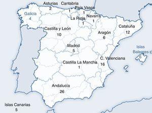 Número de centros participantes en la encuesta, por comunidad autónoma.