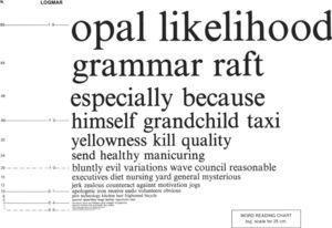 An example of the Bailey-Lovie Word reading card.