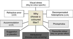 Schematic diagram to illustrate potential reasons why children might choose a coloured overlay on first testing.