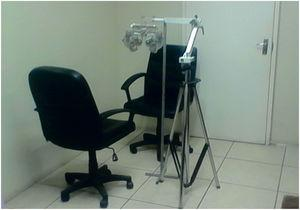 A phoropter head attached to a specially designed tripod stand. The set up is ideal for vision screening outreach.