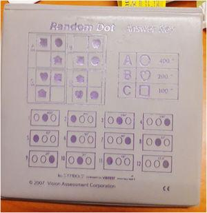 Randot Stereoacuity test booklet. The bottom last plate scores up to 12.5s arc.