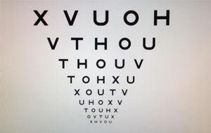 Test of symmetrical letter optotypes of the Bueno Matilla Unit used for the determination of the visual acuity of the subjects evaluated during the study, wherein the same letters considered symmetrical (H, T, V, U, O, X) are repeated, varying in size with logarithmic reduction.