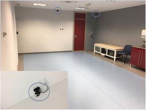 Área de captura de movimiento donde se realizó el estudio. Señaladas con círculos las cámaras PS Eye. El rectángulo inferior izquierdo muestra una de las cámaras en detalle.