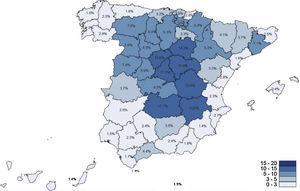 Mapa provincial de anticuerpos IgG anti SARS-CoV-2 según los resultados del estudio de seroprevalencia. ENE-COVID-Centro Nacional de Epidemiología (ISC-III).