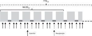 Esquema demonstrativo do exercício intermitente para a determinação da MLSS e do exercício realizado na MLSS até a exaustão. MLSSint: máxima fase estável intermitente; TTEint: tempo de exaustão intermitente.