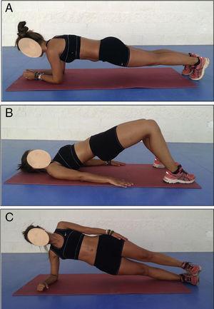 Ejercicios de estabilización en decúbito prono, decúbito supino y decúbito lateral manteniendo la pelvis elevada contra gravedad. A) Puente o plancha frontal. B) Puente o plancha dorsal. C) Puente o plancha lateral.