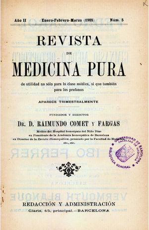 Portada del número cinco de la Revista de Medicina Pura de 1905.