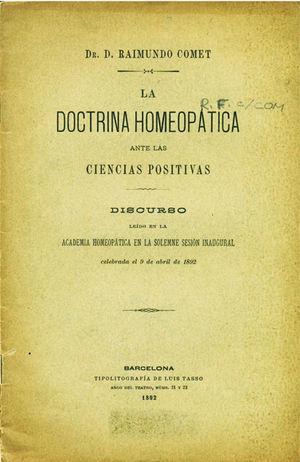 """Portada del discurso """"La Doctrina Homeopática ante las Ciencias Positivas"""", 1892."""