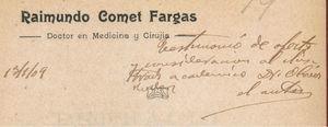 Dedicatoria del Dr. Raimundo Comet Fargas.