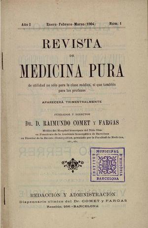 Portada del primer número de la Revista de Medicina Pura de 1904.