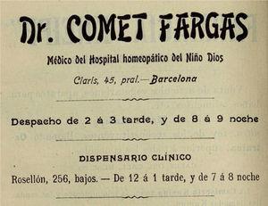 Anuncio interior del primer número de la Revista de Medicina Pura de 1904.