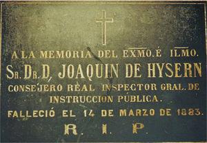 Lápida del Dr. Hysern en la Sacramental de San Isidro.