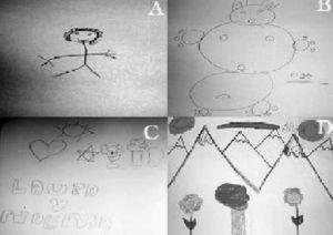 Dibujos realizados por la paciente en distintas fases del tratamiento.