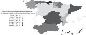 a) Distribución por comunidades autónomas de las dificultades para el abordaje de las demencias: proporción de psiquiatras que indican falta de formación. b) Distribución por comunidades autónomas de las dificultades para el abordaje de las demencias: proporción de psiquiatras que indican dificultades en el acceso a pruebas complementarias. c) Distribución por comunidades autónomas de las dificultades para el abordaje de las demencias: proporción de psiquiatras que indican dificultades en el acceso a fármacos antidemencia.
