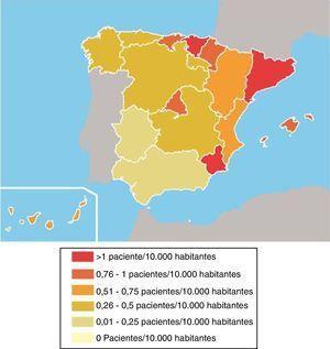 Tasas de aplicación de la terapia electroconvulsiva por comunidades autónomas. España, 2012.